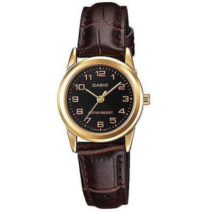Casio LTP-V001GL-1B Brown Leather Watch for Women