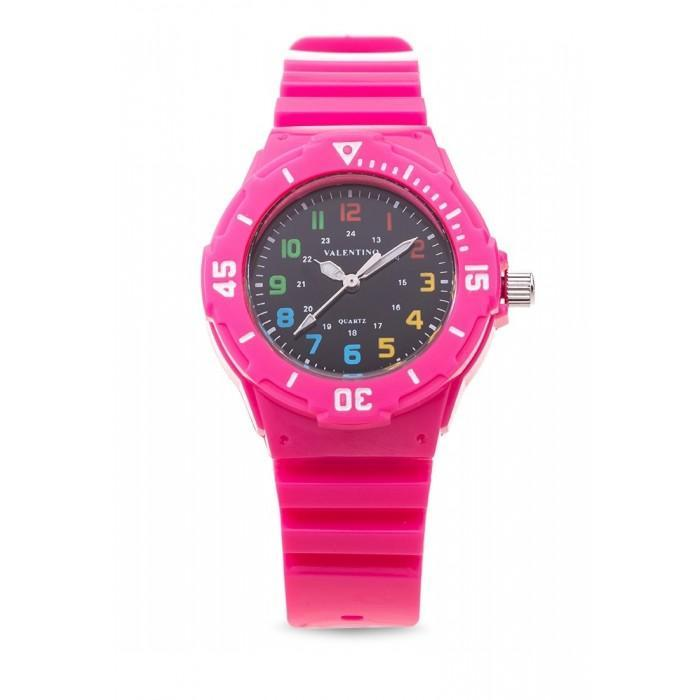 Valentino 20121727-PINK - BLACK DIAL PLASTIC STRAP Watch for Women