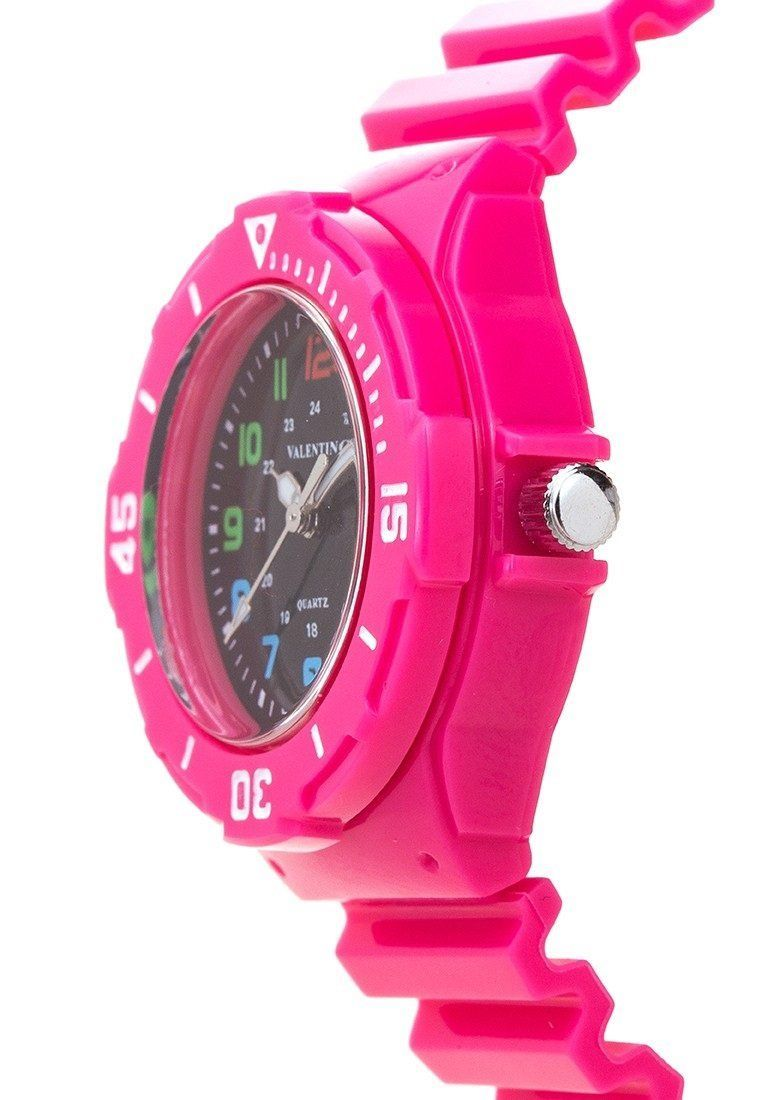 Valentino 20121727-PINK - BLACK DIAL PLASTIC STRAP Watch for Women - Watchportal Philippines