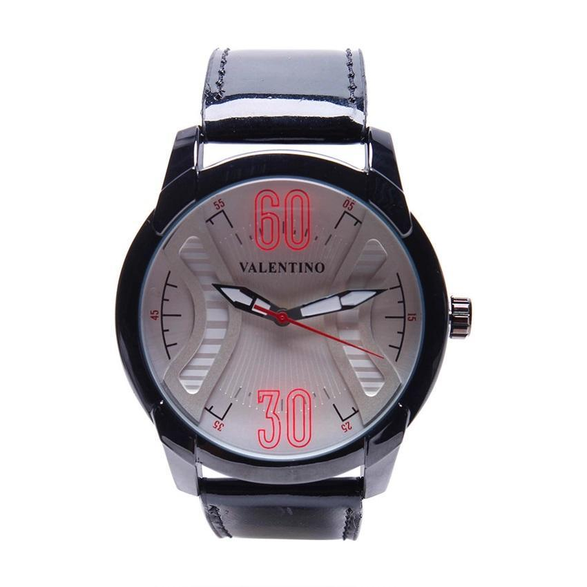 Valentino 20121759-BLACK BLK - WHITE DIAL GENUINE LEATHER STRAP Watch for Men - Watchportal Philippines