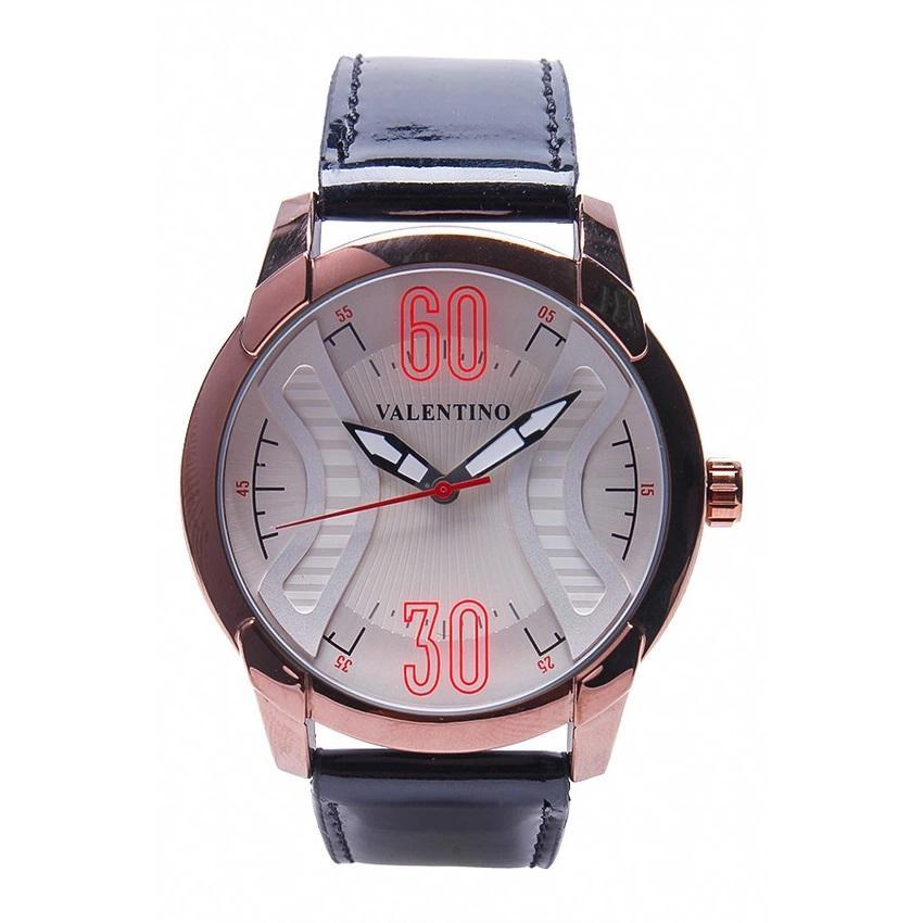 Valentino 20121759-BLACK RG - WHITE DIAL GENUINE LEATHER STRAP Watch for Men - Watchportal Philippines