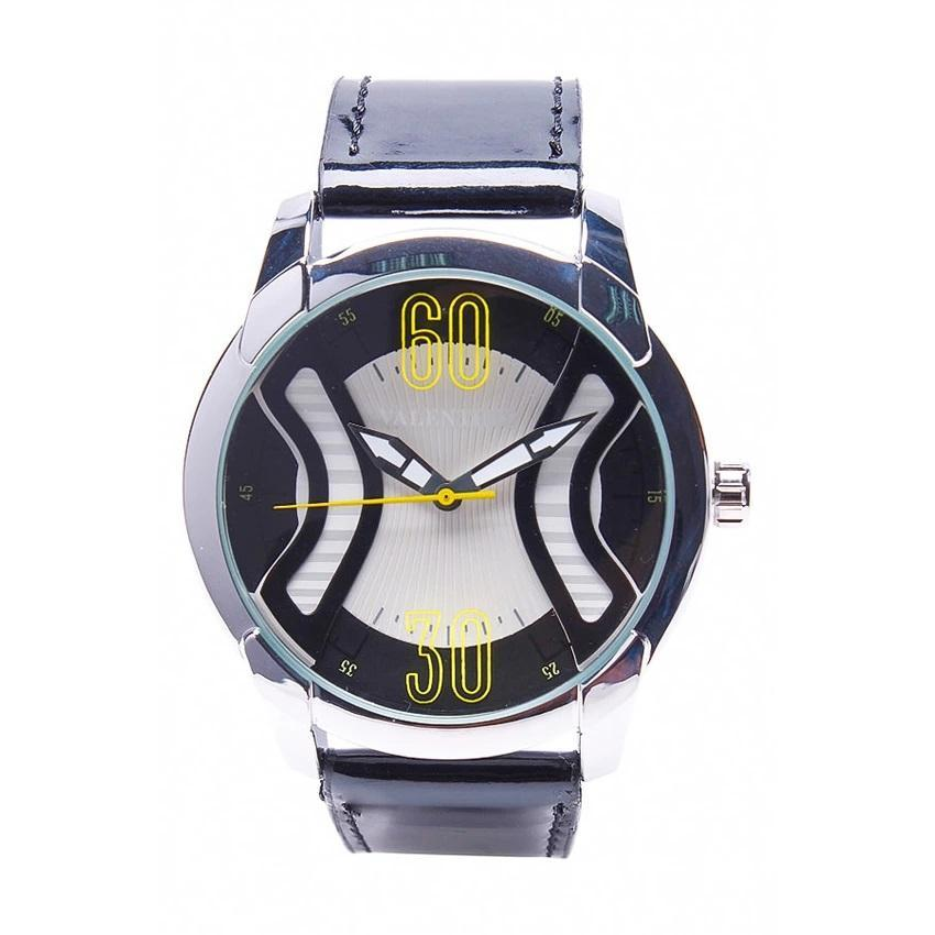 Valentino 20121759-BLACK SIL - WHITE DIAL GENUINE LEATHER STRAP Watch for Men - Watchportal Philippines