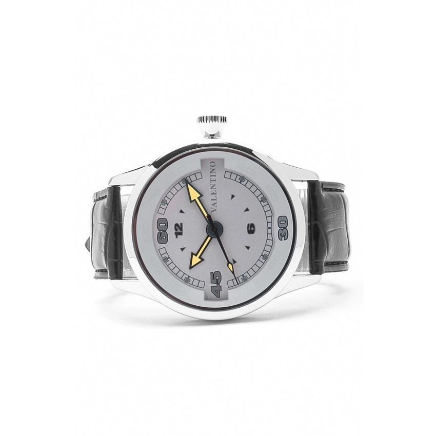Valentino 20121775-BLACK SIL - GREY DIAL LEATHER STRAP Watch for Men - Watchportal Philippines
