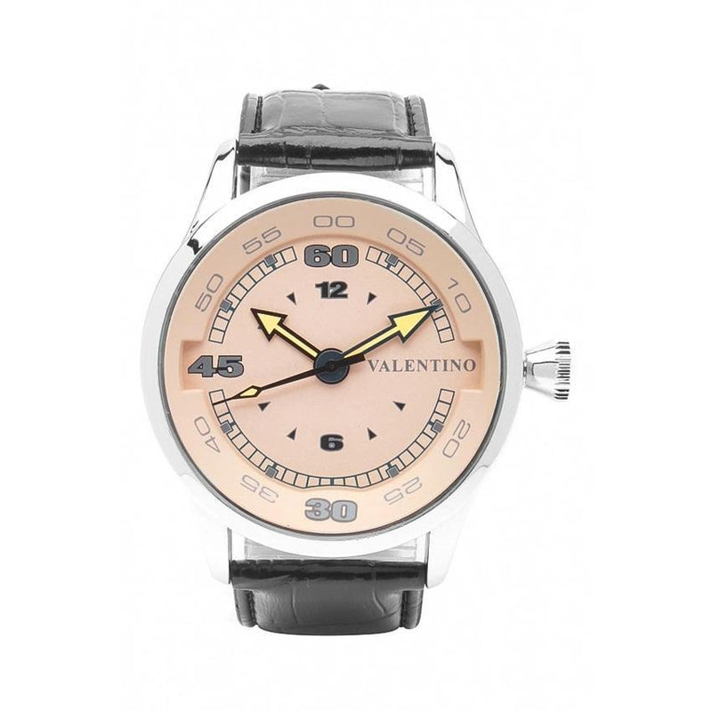 Valentino 20121775-BLACK SIL - PINK DIAL LEATHER STRAP Watch for Men - Watchportal Philippines
