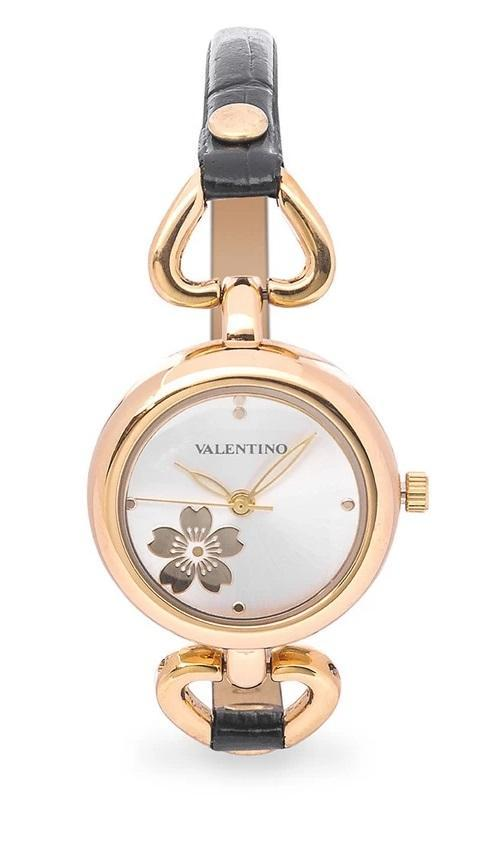 Valentino 20121826-BLACK GD - SILVER DIAL LEATHER STRAP Watch for Women - Watchportal Philippines