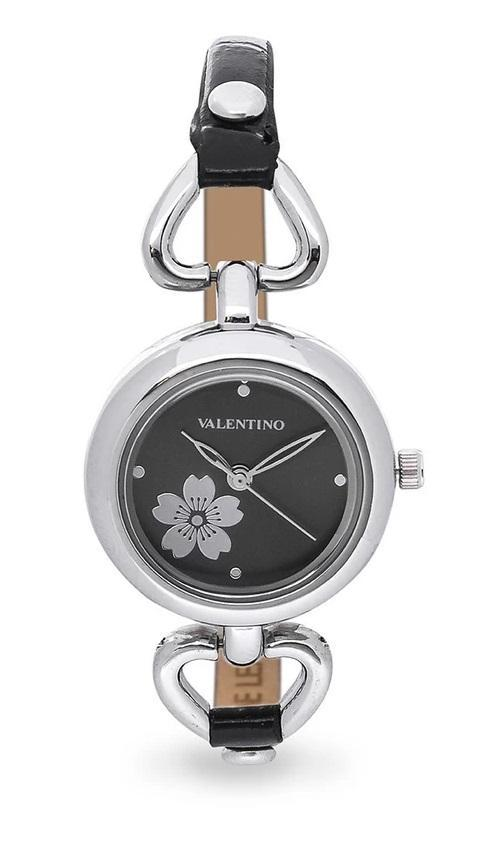 Valentino 20121826-BLACK SIL - BLACK DIAL LEATHER STRAP Watch for Women - Watchportal Philippines