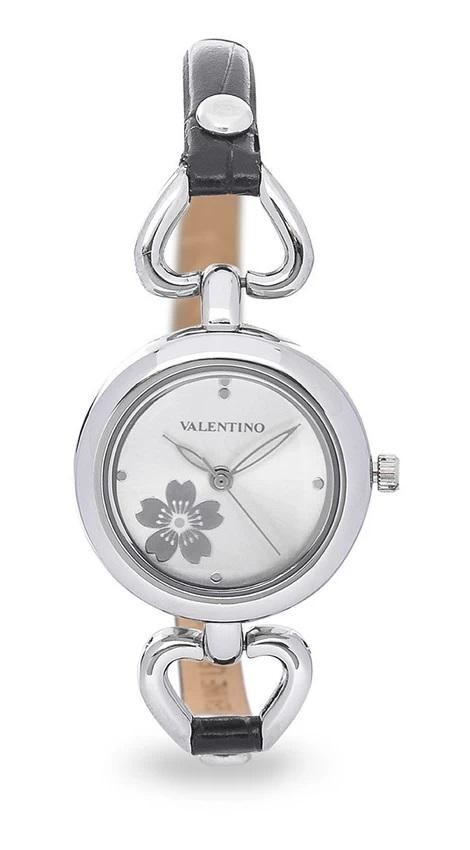 Valentino 20121826-BLACK SIL - SILVER DIAL LEATHER STRAP Watch for Women - Watchportal Philippines