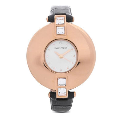 Valentino 20121829-BLACK GD - GOLD DIAL LEATHER STRAP Watch for Women - Watchportal Philippines