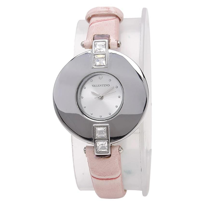 Valentino 20121829-PINK SIL - SILVER DIAL LEATHER STRAP Watch for Women - Watchportal Philippines