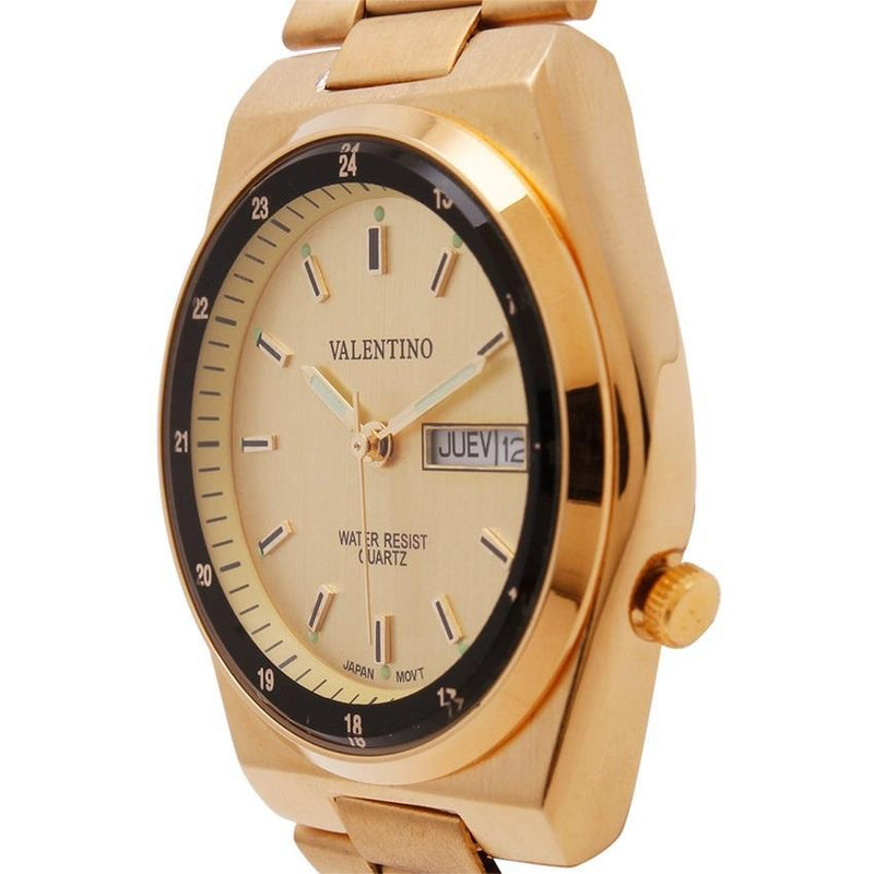 Valentino 20121840-GOLD DIAL STAINLESS BAND STRAP Watch for Men