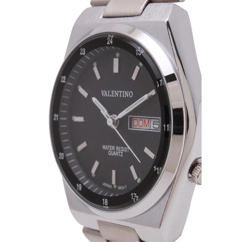 Valentino 20121842-BLACK DIAL STAINLESS BAND STRAP Watch for Men