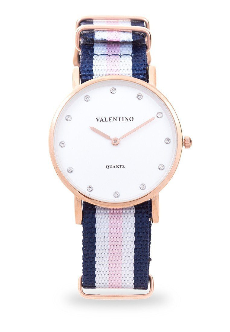Valentino 20121902-DBLUE WHT PINK - STONE D WELLINGTON RG L NYLON STRAP Watch For Women - Watchportal Philippines