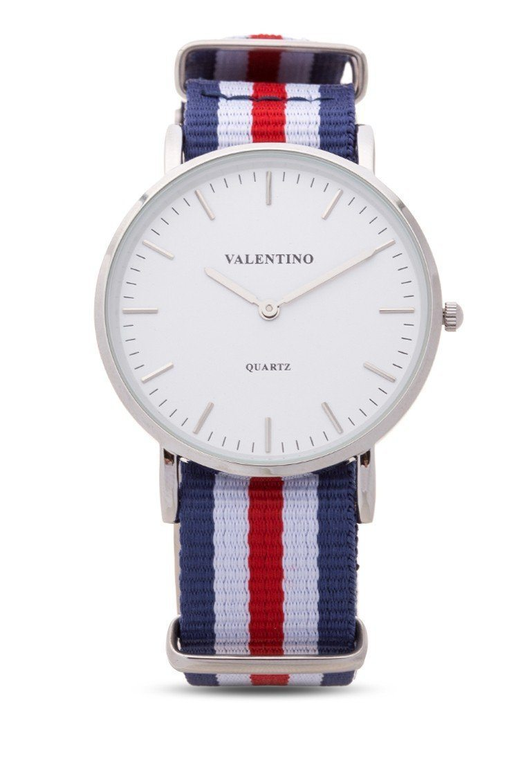 Valentino 20121903-Dblue Wht Red  Nylon Strap Watch For Men