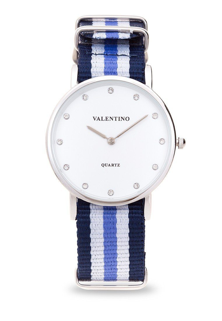 Valentino 20121904-DBLUE WHT BLUE - STONE NYLON STRAP  Watch For Women