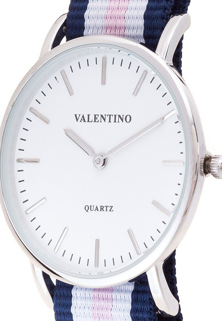 Valentino 20121904-DBLUE WHT PINK - LINE  NYLON STRAP Watch  For Women