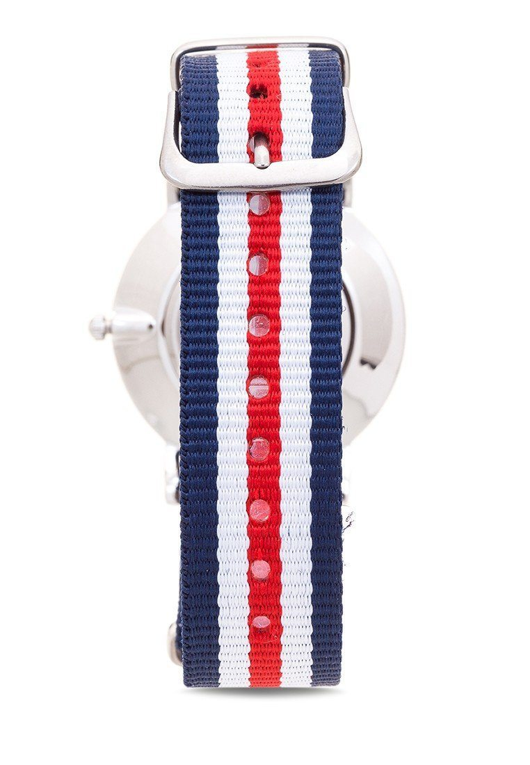 Valentino 20121904-DBLUE WHT RED - LINE NYLON STRAP Watch For Women