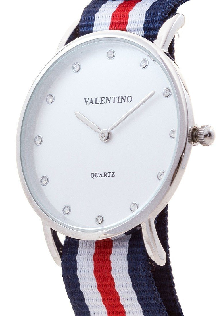 Valentino 20121904-DBLUE WHT RED - STONE NYLON STRAP Watch For Women