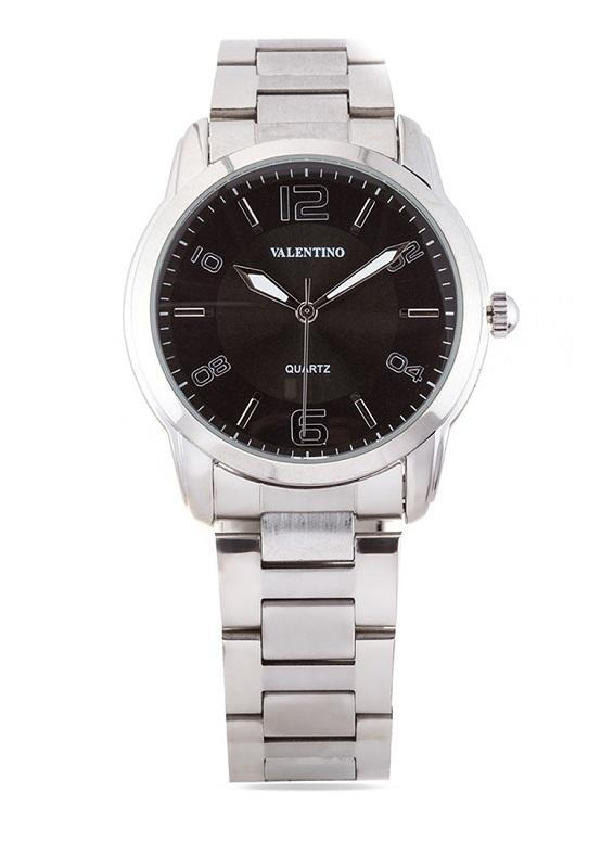 Valentino 20121911-BLACK DIAL STAINLESS BAND Strap Watch For Men - Watchportal Philippines