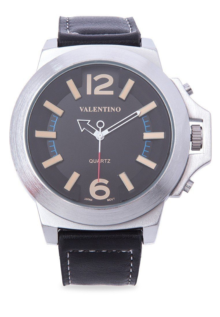 Valentino 20121947-KHAKI INDEX BLACK LEATHER STRAP Watch For Men - Watchportal Philippines