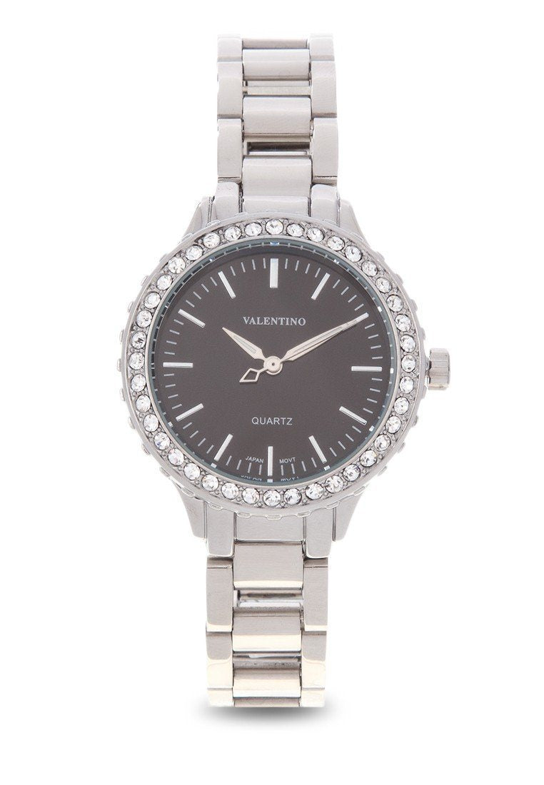 Valentino 20121961-SILVER  - BLACK DIAL SILVER STAINLESS BAND  Watch For Women - Watchportal Philippines