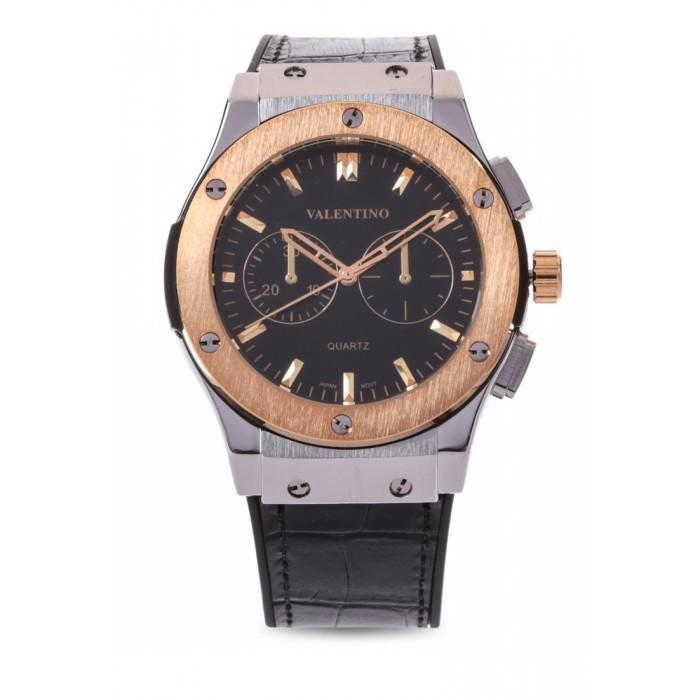 Valentino 20122069-TWO TONE-BLACK DIAL BLACK RUBBER STRAP Watch for Men