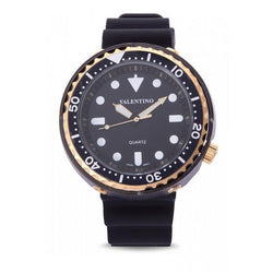 Valentino 20122074-GOLD CASE BLACK RUBBER STRAP Watch for Men