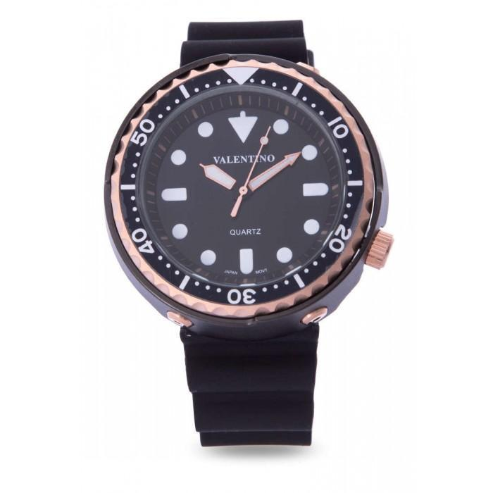 Valentino 20122074-Rose Gold Case Black Rubber Strap Watch for Men