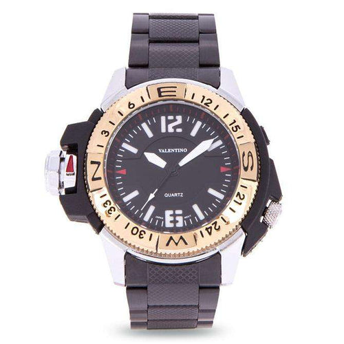 Valentino 20122082-GOLD VESSEL BLACK STAINLESS STEEL STRAP Watch for Men