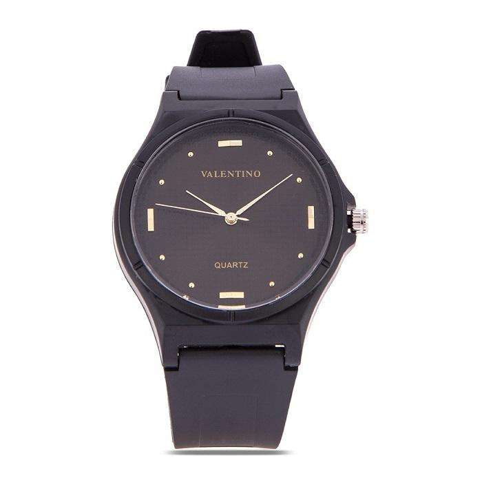 Valentino 20122084-DOT - BLACK DIAL BLACK RUBBER STRAP Watch for Men and Women