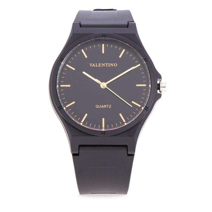 Valentino 20122084-LINE - BLACK DIAL BLACK RUBBER STRAP Watch for Men and Women
