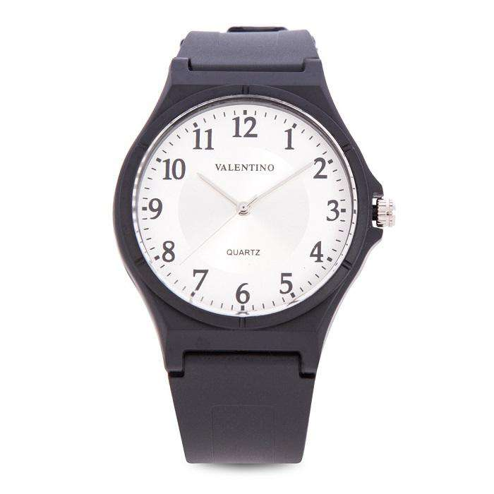 Valentino 20122084-NUMBER - WHITE DIAL BLACK RUBBER STRAP Watch for Men and Women