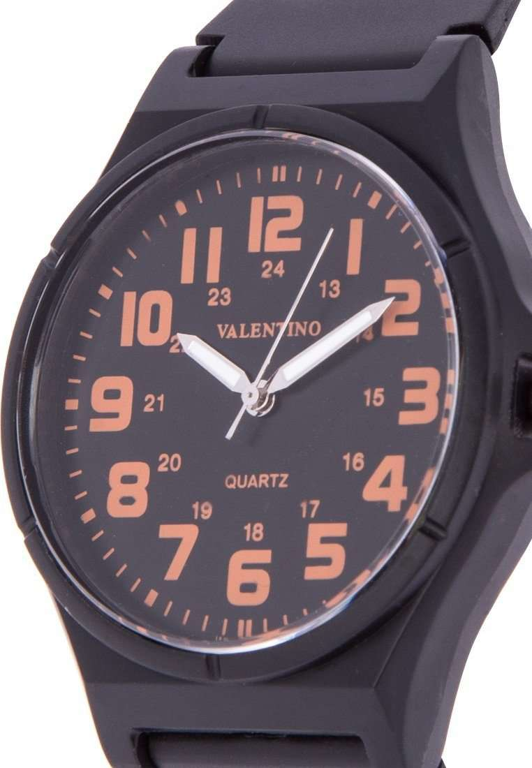 Valentino 20122084-ORANGE NUMBER BLACK RUBBER STRAP Watch for Men and Women