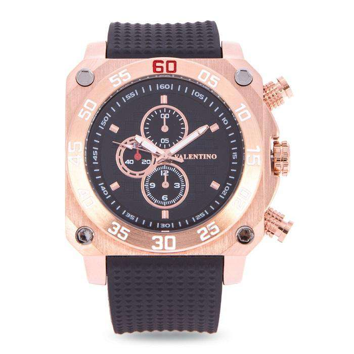 Valentino 20122092-ROSE GOLD CASE BLACK RUBBER STRAP Watch for Men