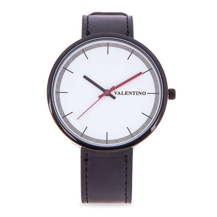 Valentino 20122095-BLK - WHITE DIAL BLACK LEATHER STRAP Watch for Men and Women