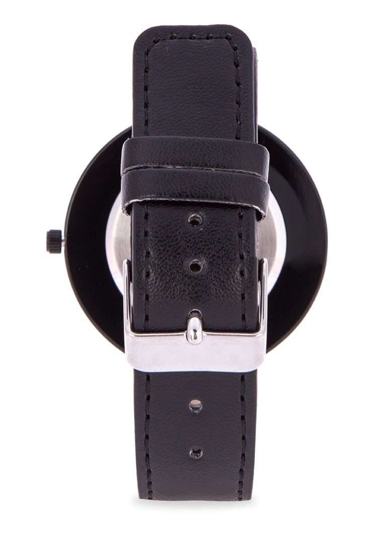 Valentino 20122095-BLK - BLACK DIAL BLACK LEATHER STRAP Watch for Men and Women