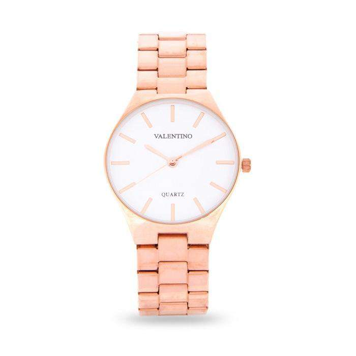 Valentino 20122113-WHITE DIAL Rose Gold Stainless Steel Band Watch for Women