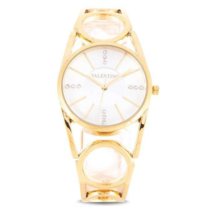Valentino 20122115-SILVER DIAL Gold Fashion Metal Band Watch for Women