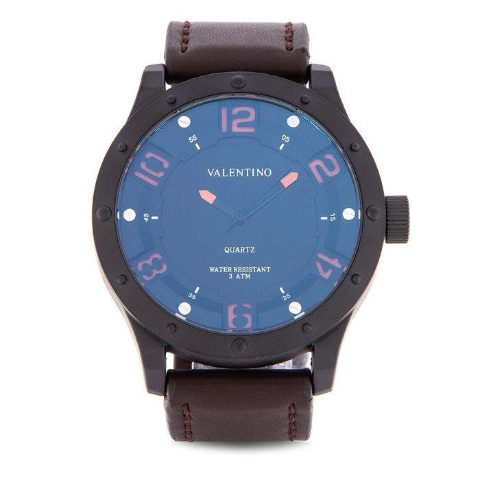 Valentino 20122121-BLK CASE - ORANGE NUMBER Brown Leather Strap Watch for Men