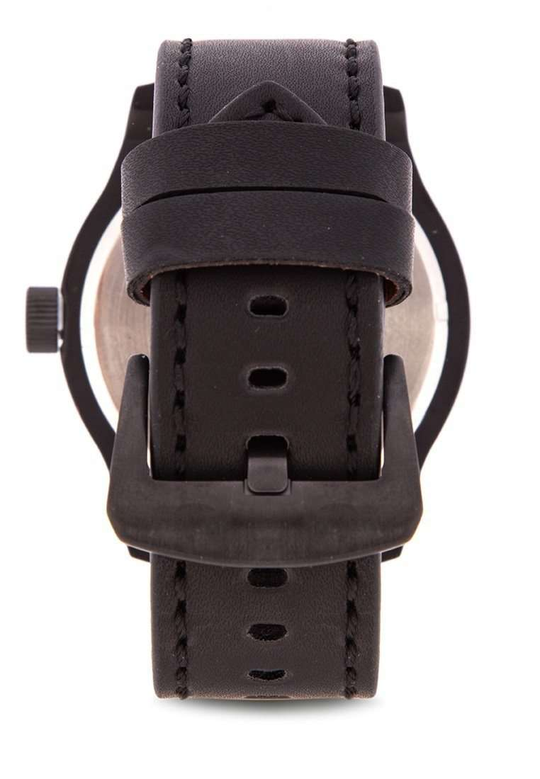 Valentino 20122121-BLK CASE - YELLOW NUMBER Black Leather Strap Watch for Men