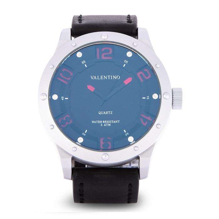 Valentino 20122121-SIL CASE - RED NUMBER Black Leather Strap Watch for Men