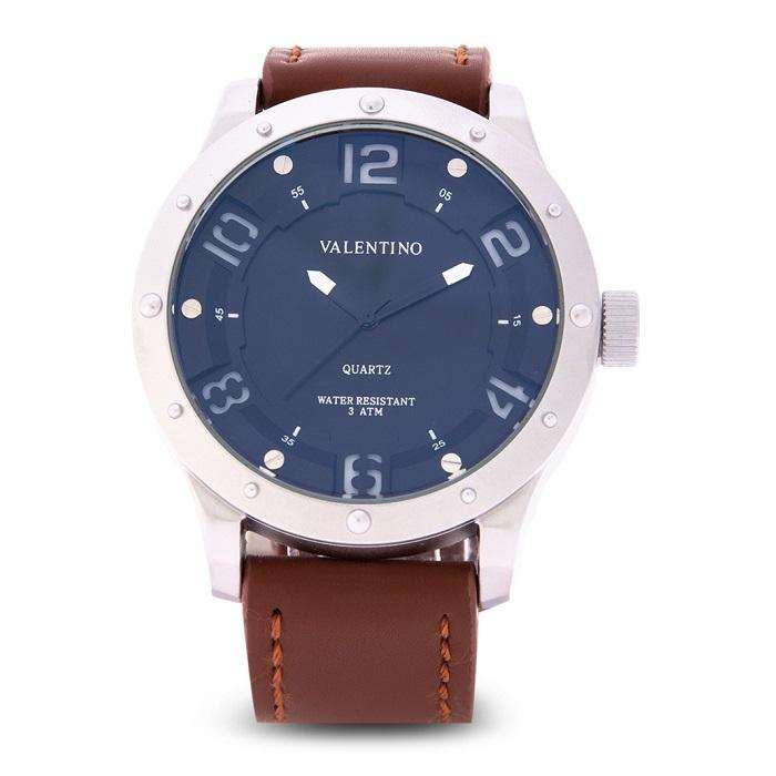 Valentino 20122121-SIL CASE - WHITE NUMBER Brown Leather Strap Watch for Men