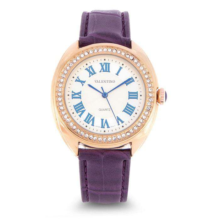 Valentino 20122124-VIOLET STRAP Violet Leather Strap Watch for Women