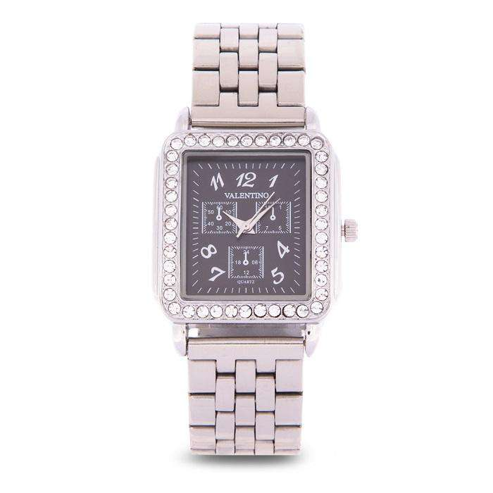 Valentino 20122128-BLACK DIAL Silver Stainless Steel Band Watch for Women