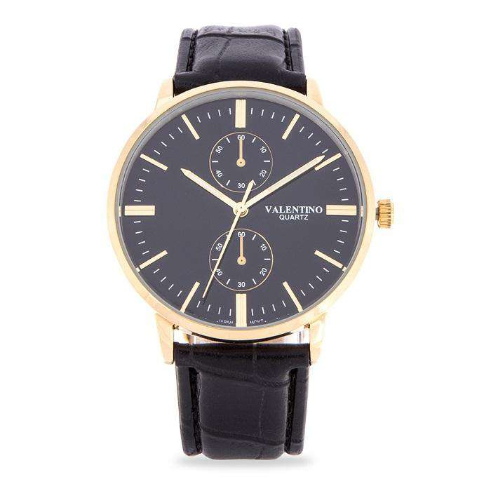 Valentino 20122139-BLK STRAP - BLACK DIAL Black Leather Strap Watch for Men