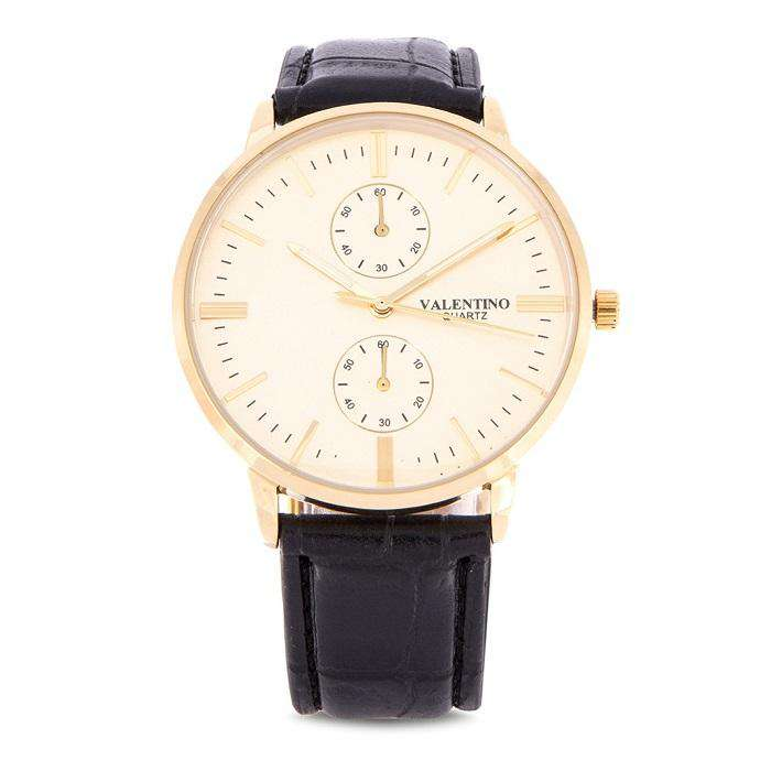 Valentino 20122139-BLK STRAP - GOLD DIAL Black Leather Strap Watch for Men