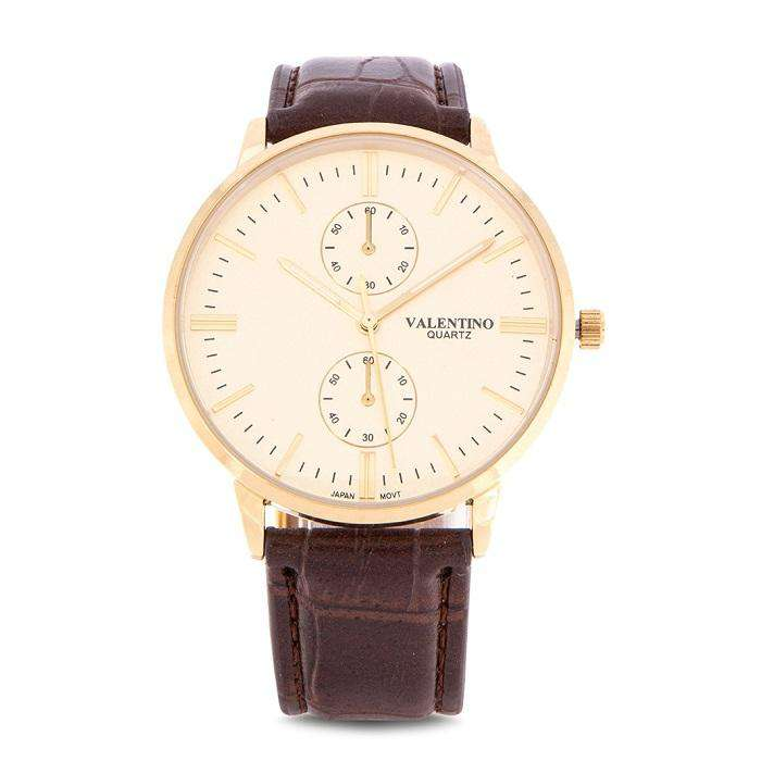 Valentino 20122139-BRWN STRAP - GOLD DIAL Brown Leather Strap Watch for Men