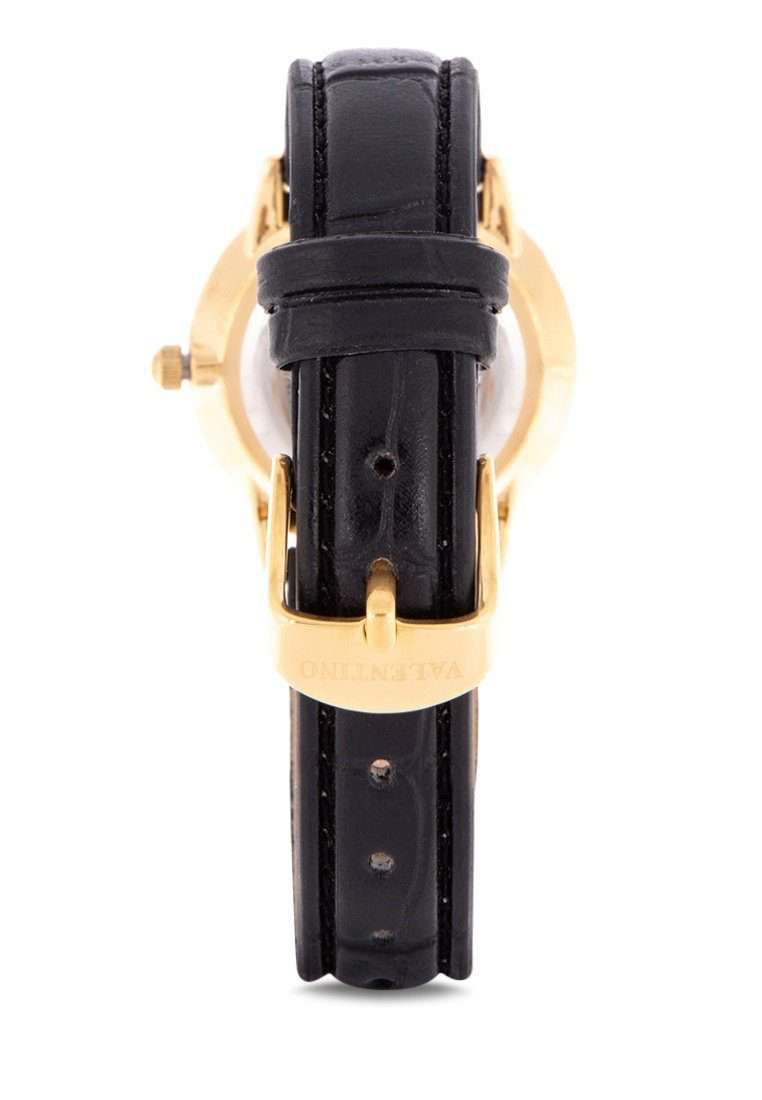 Valentino 20122140-BLK STRAP - GOLD DIAL Black Leather Strap Watch for Women