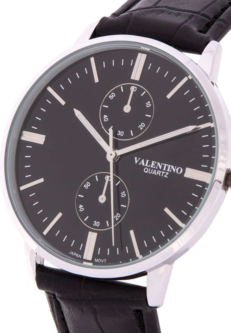 Valentino 20122141-BLK STRAP - BLACK DIAL Black Leather Strap Watch for Men