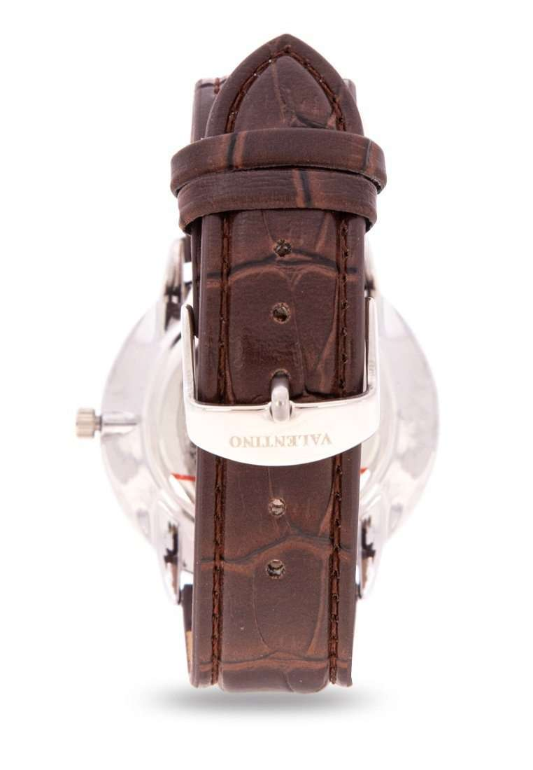 Valentino 20122141-BRWN STRAP - WHITE DIAL Brown Leather Strap Watch for Men