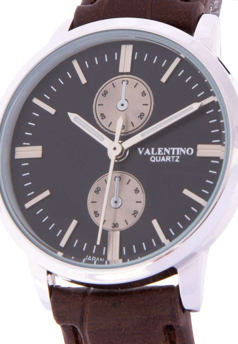 Valentino 20122142-BRWN STRAP - BLACK DIAL Brown Leather Strap Watch for Women